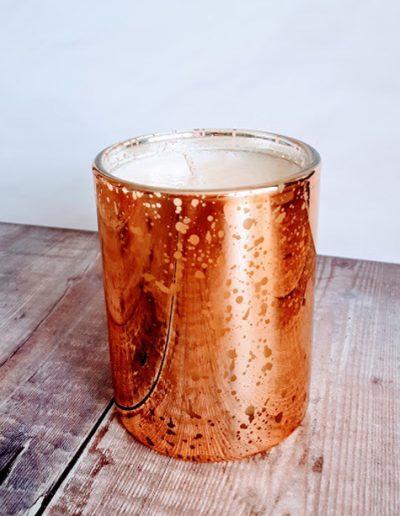 Copper Mercury Glass Jar Candle, Natural Wax. 300g