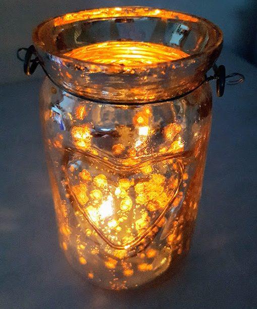 Silver Mercury Love Heart Jar