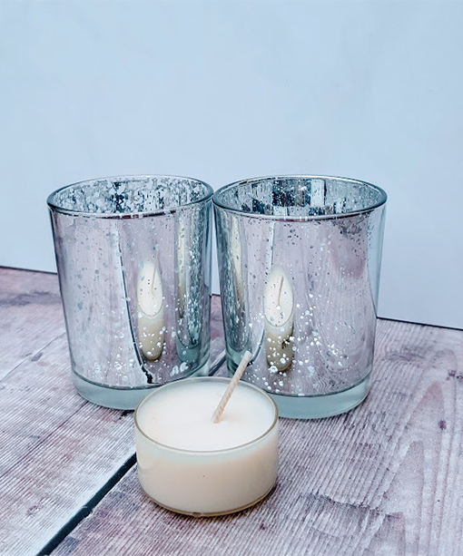 Pair of Silver Mercury tealight holders